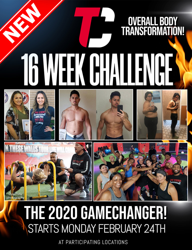 Graphic image, click on this image to learn more about the Camp's new 16-week challenge