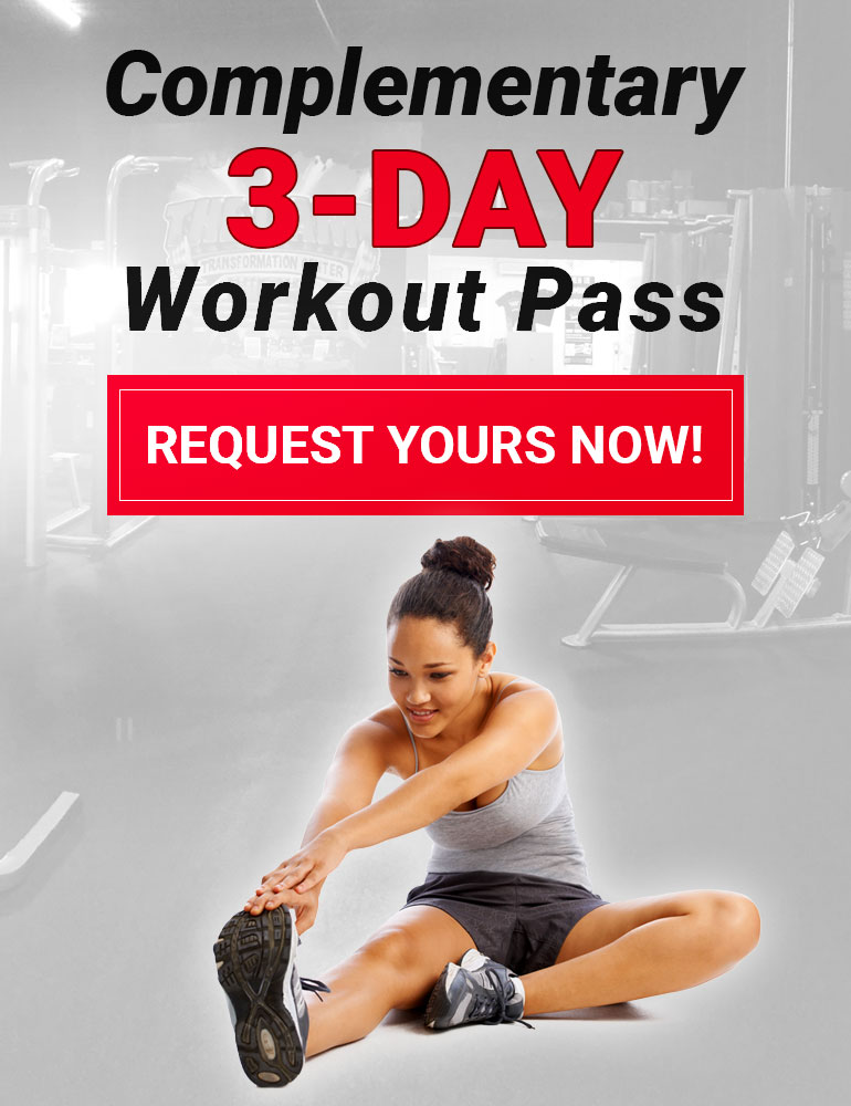 Graphic image, click on this image to request a complementary 3-day workout pass